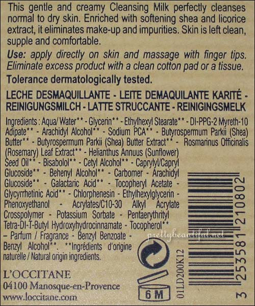 Loccitane Ultra Gentle Cleansing Milk Ingredient List