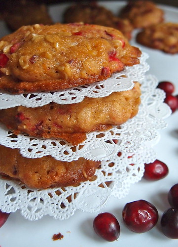 White Chocolate Chip Cranberry Cookies with Oatmeal, Orange Zest+Lemon Glaze