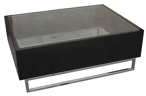 Contemporary Solid White Oak Coffee Table with Stainless Steel Legs