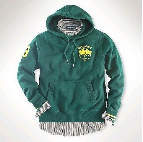 Men Match polo Fleece Hoodie in Green