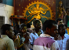 Worshipers at Sri Veeramakaliamman Temple