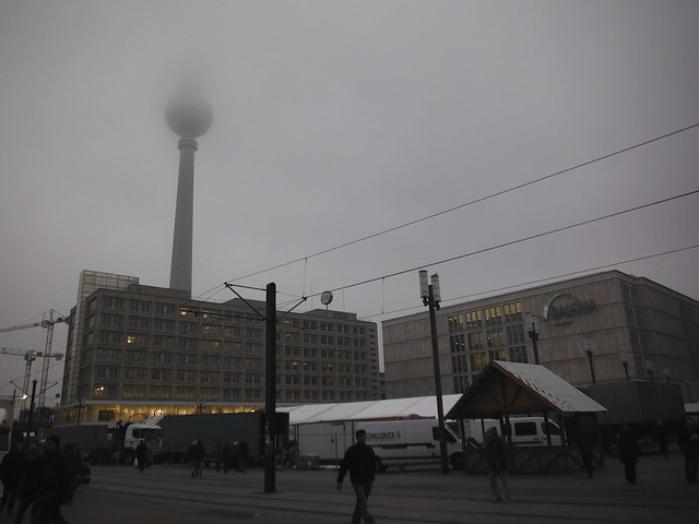 fernsehturm in clouds