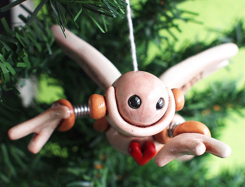 Robot Angel Christmas Ornament by HerArtSheLoves