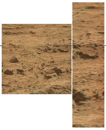 CURIOSITY sol 107 Mastcam right panorama - anaglyph detail
