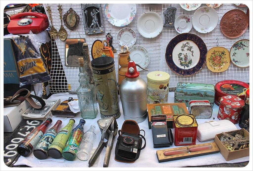san telmo market antiques and plates