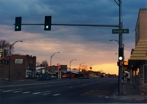A springtime sunset on West 95th Street.  Evergreen Park Illinois.  April 1990. by Eddie from Chicago