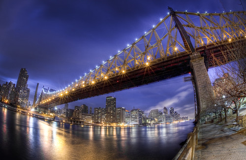nyc newyorkcity bridge skyline night manhattan fisheye eastriver gothamist 15mm span queensborobridge rooseveltisland hdr 59thstreetbridge edkochbridge