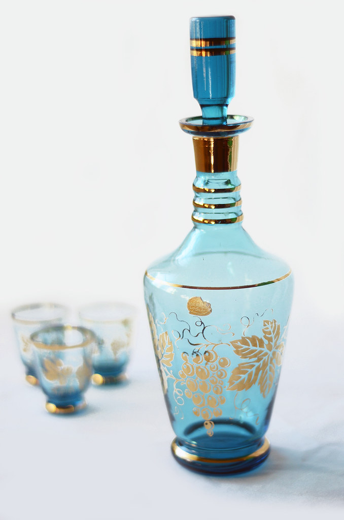 Vintage Blue and Gold Bohemian Glass Decanter and Shot Glasses