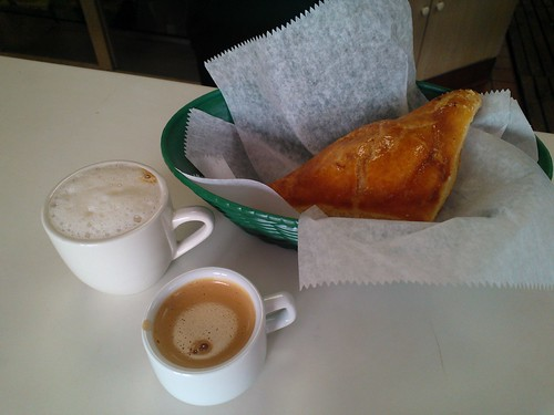 Clockwise from bottom: cafe cubano, cortadito, and pastelitos de guayaba y queso
