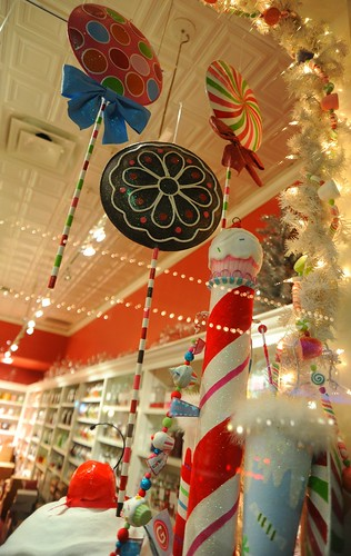 Suckers, candy cane, cherry on top, cupcake on top, ice cream, Christmas tree, lights, white, candy store, Seattle, Washington, USA by Wonderlane