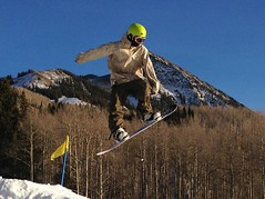 Terrain park action at Crested Butte Mountain Resort today