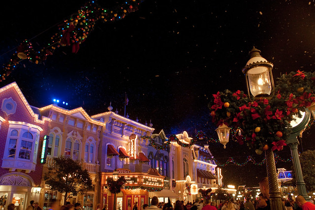 Disney's Magic Kingdom Main Street Christmas at Night