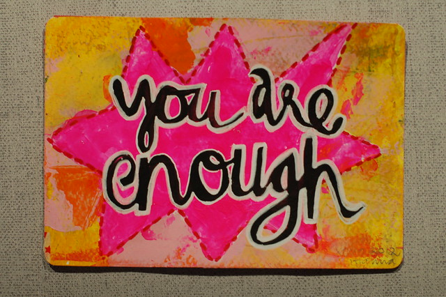 Postcard: You are enough - important message to all girls/women/men -  by @iHanna - made for the #Diypostcardswap