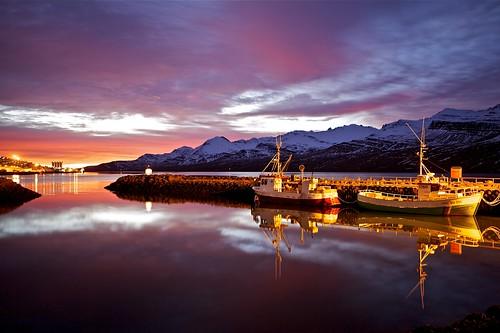 morning sky reflection clouds sunrise boats iceland village harbour ísland bátar ský himinn speglun morgunn höfnin sólarupprás fáskrúðsfjörður faskrudsfjordur þorp jónínaguðrúnóskarsdóttir