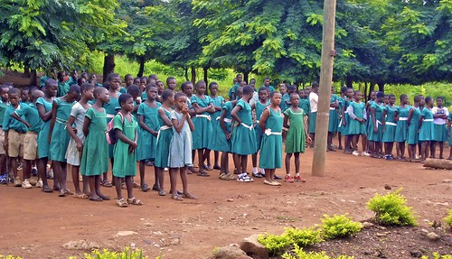 Primary School children at assembly at St Peter's Primary and Junior High School, Wioso, Ghana