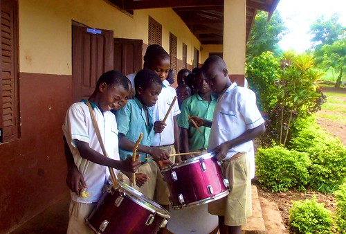 The St Peter's Junior High School boys band in Wioso, Ghana, getting ready to play at assembly