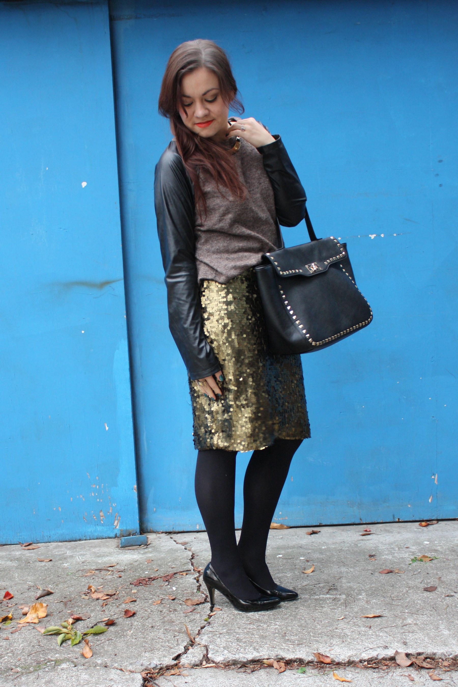 sequin pencil skirt - leather sleeve raglan sweater - studded trim tote - tights - ankle boots06