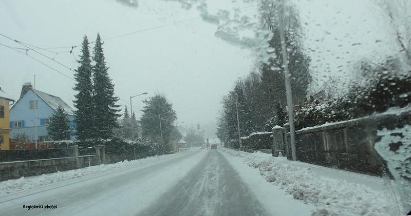 Baselstrasse, snowing