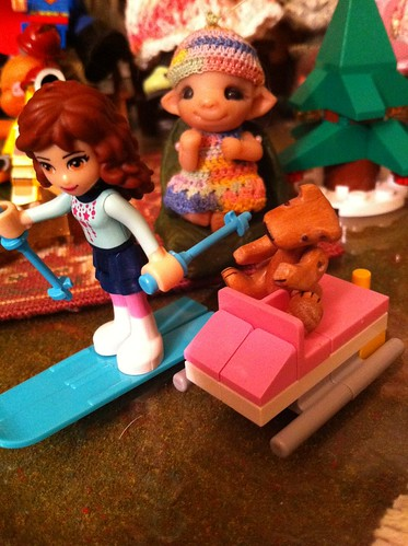 "Lego Advent Friends DaY 4 - ""Ski's and Poles"" Baby Pearlie Cheers On The Race! by DollZWize"