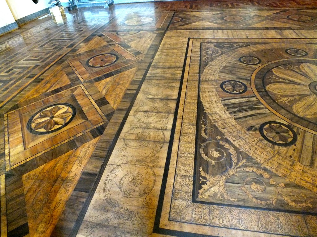 Parquet flooring hardwood floor border medallion inlays for Most expensive floor