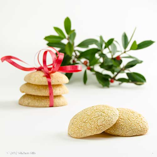 Anise Drop Cookies with Holly in Background