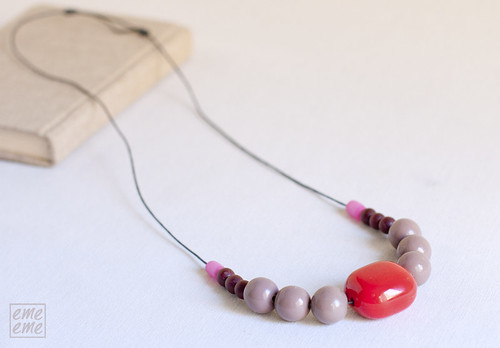 Necklace extra long. Ceramic and wood beads