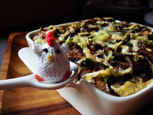 Mushroom & Shallot Bread Pudding