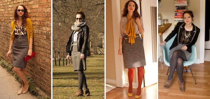 dash dot dotty, tweed skirt, remix, one skirt four ways, tweed skirt combinations, i feel the need for tweed