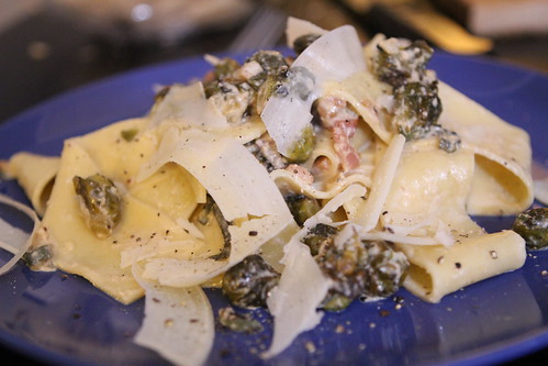 Pappardelle with Roasted Brussels Sprouts in Bacon Cream Sauce