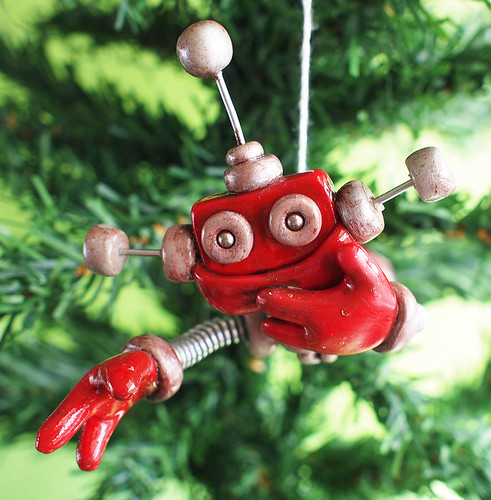Rustic Red Reba Robot with Jetpack Christmas Ornament by HerArtSheLoves