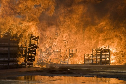 A huge fire in Wolesley, Cape Province some 120km north of Cape Town, South Africa. The fire is thought to be in response to the agricultural workers strike. Some 15,000 fruit bins were destroyed. by Pan-African News Wire File Photos