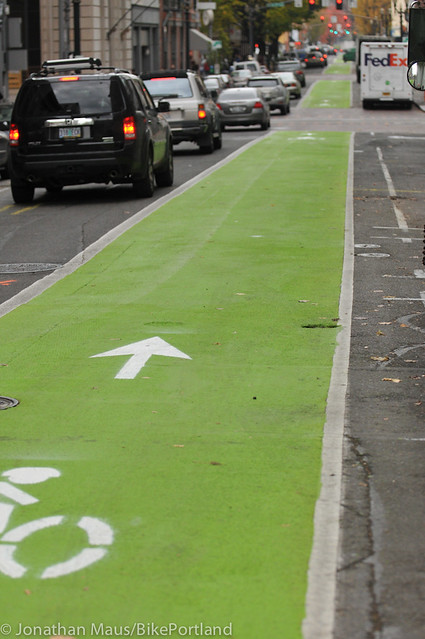 Green bike lanes Stark and Oak-8