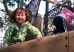 Speck grinning on spiral slide
