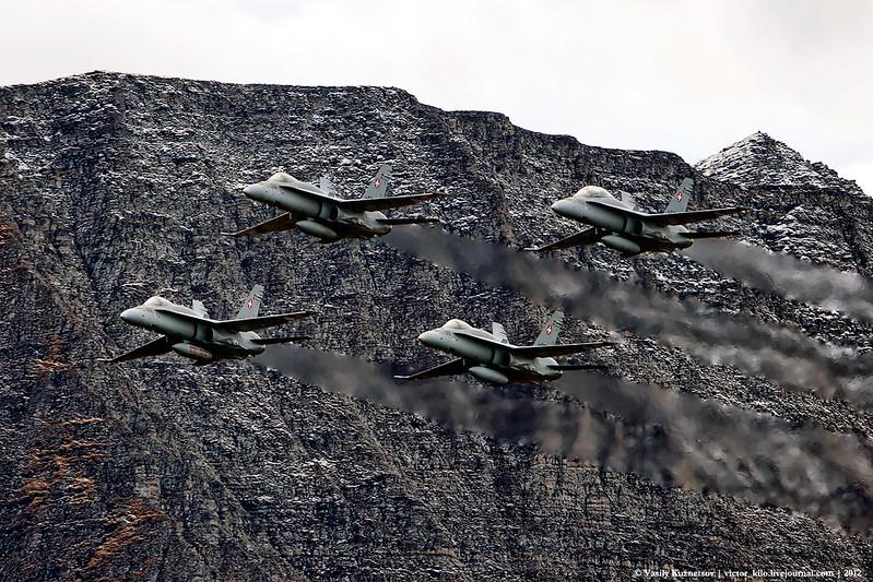 Four Hornets flypast at Axalp