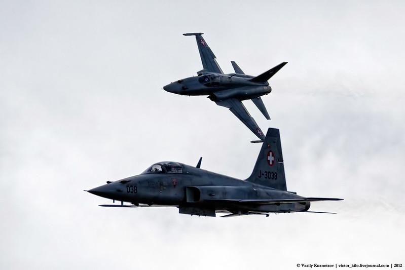 Pair of F-5Es commencing their firing run on Ebenhuf range