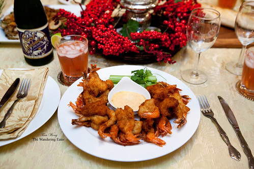 Fried shrimp with harissa mayonnaise