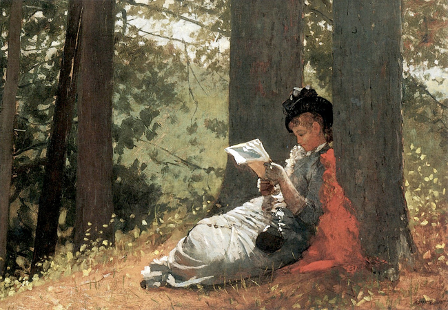 Girl Reading under an Oak Tree