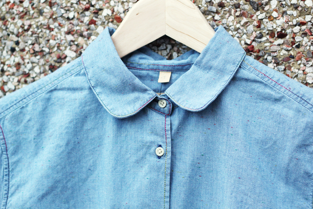 Levi's Made and Crafted chambray denim shirt peter pan rounded collar