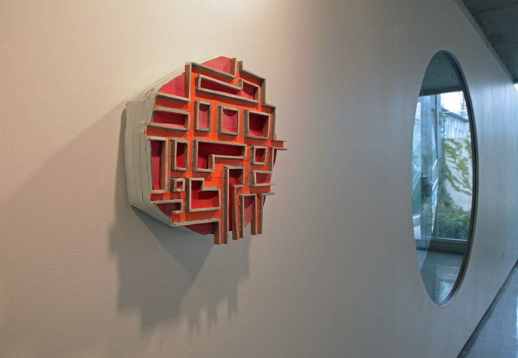 <em>Orange Path</em> (2012), wood, paper, and tape