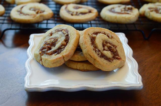 A plate of Date Pinwheel Cookies.