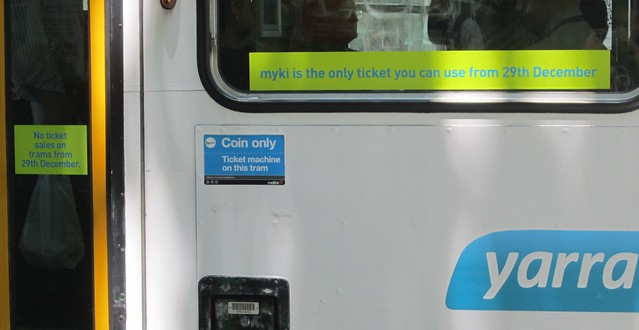 Tram signage: No ticket sales on trams from 29th December / Myki is the only ticket you can use from 29th December
