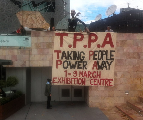 TPPA banner drop @ Fed Square