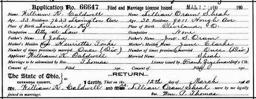 Lillian Oram to William Caldwell Marriage License