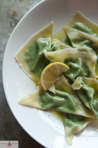 Crab and Spinach Ravioli with Chili Oil