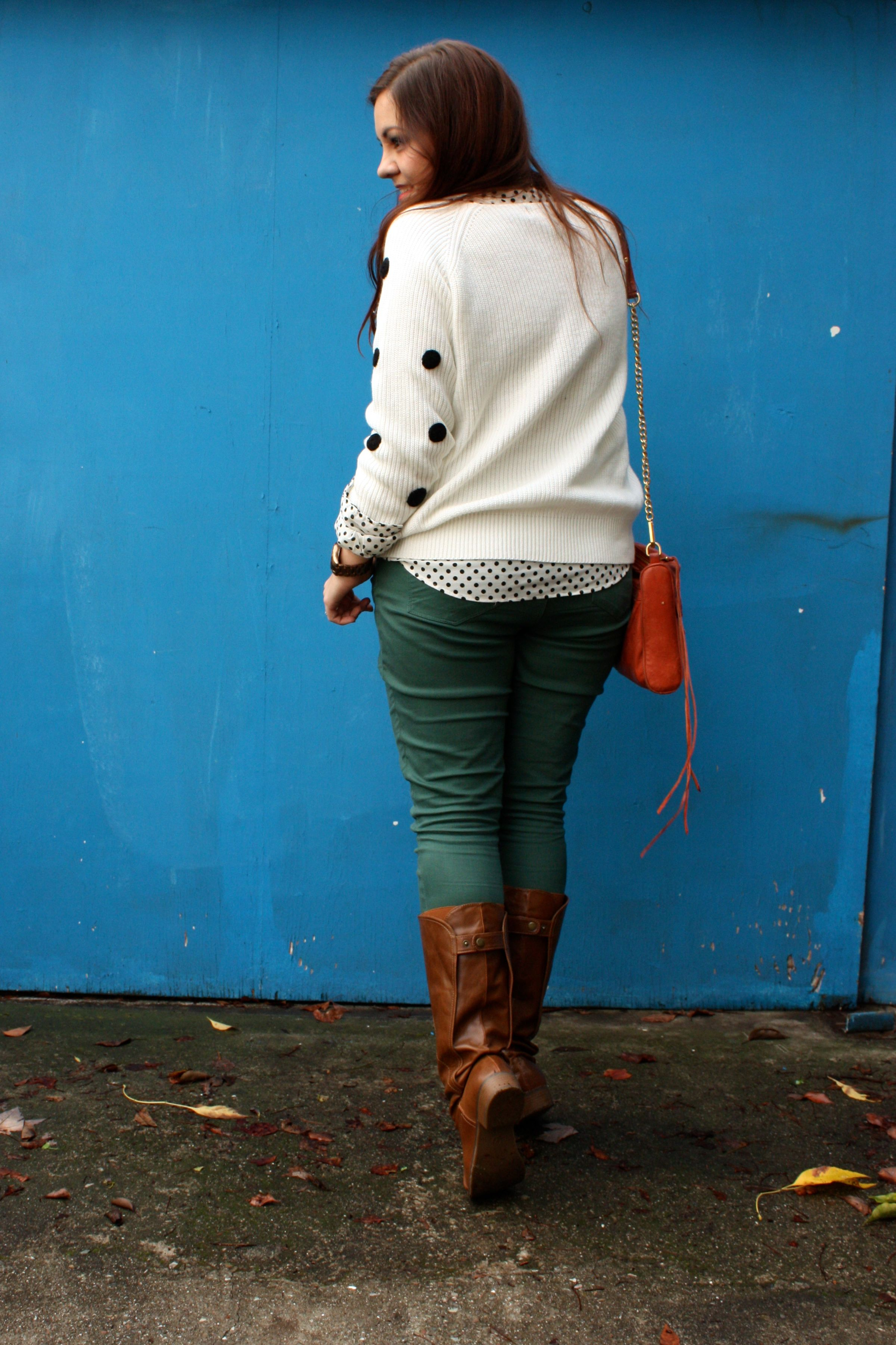 polka dot sweater and blouse - forest green jeans - congac boots - orange rebecca minkoff mac07