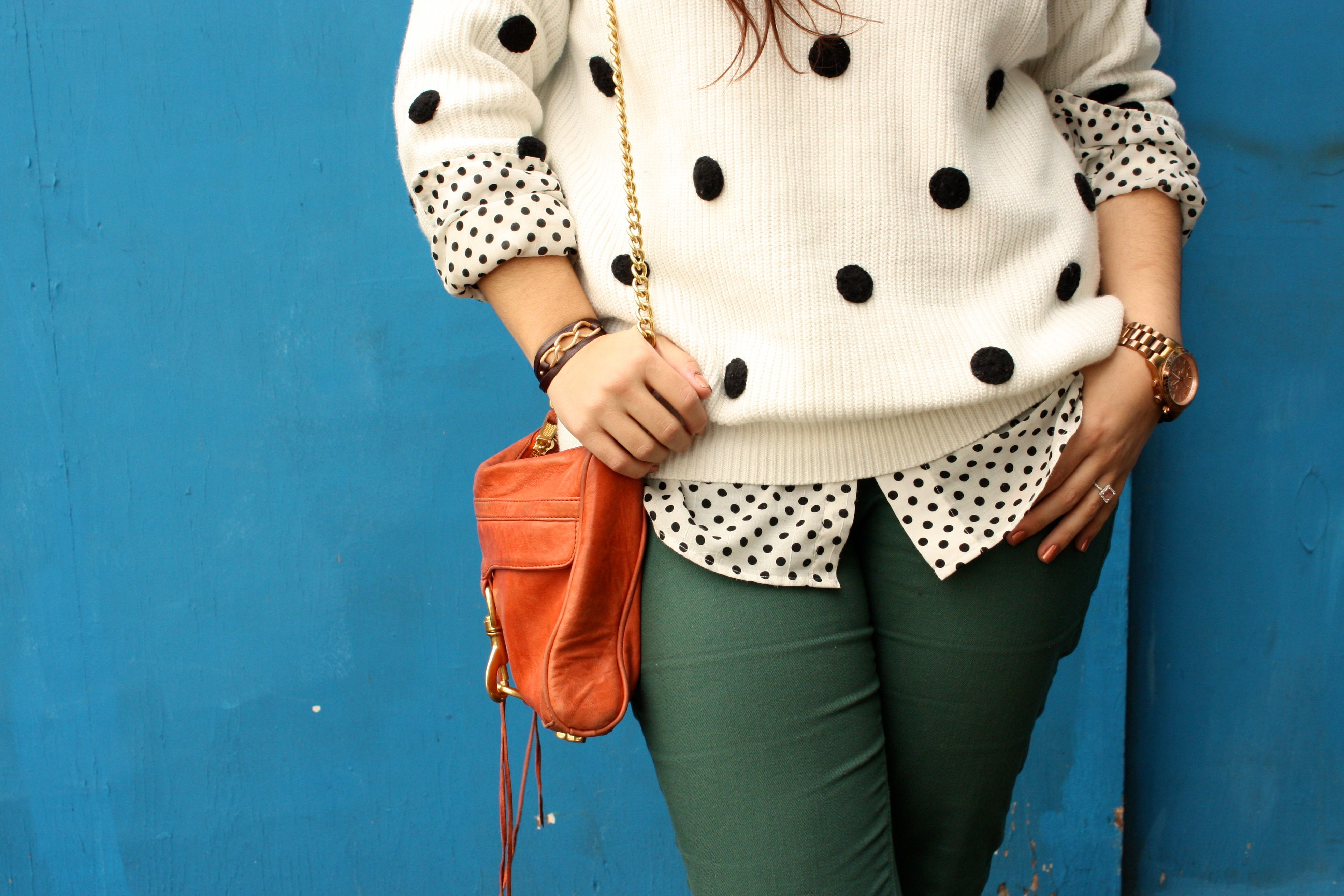 polka dot sweater and blouse - forest green jeans - congac boots - orange rebecca minkoff mac08
