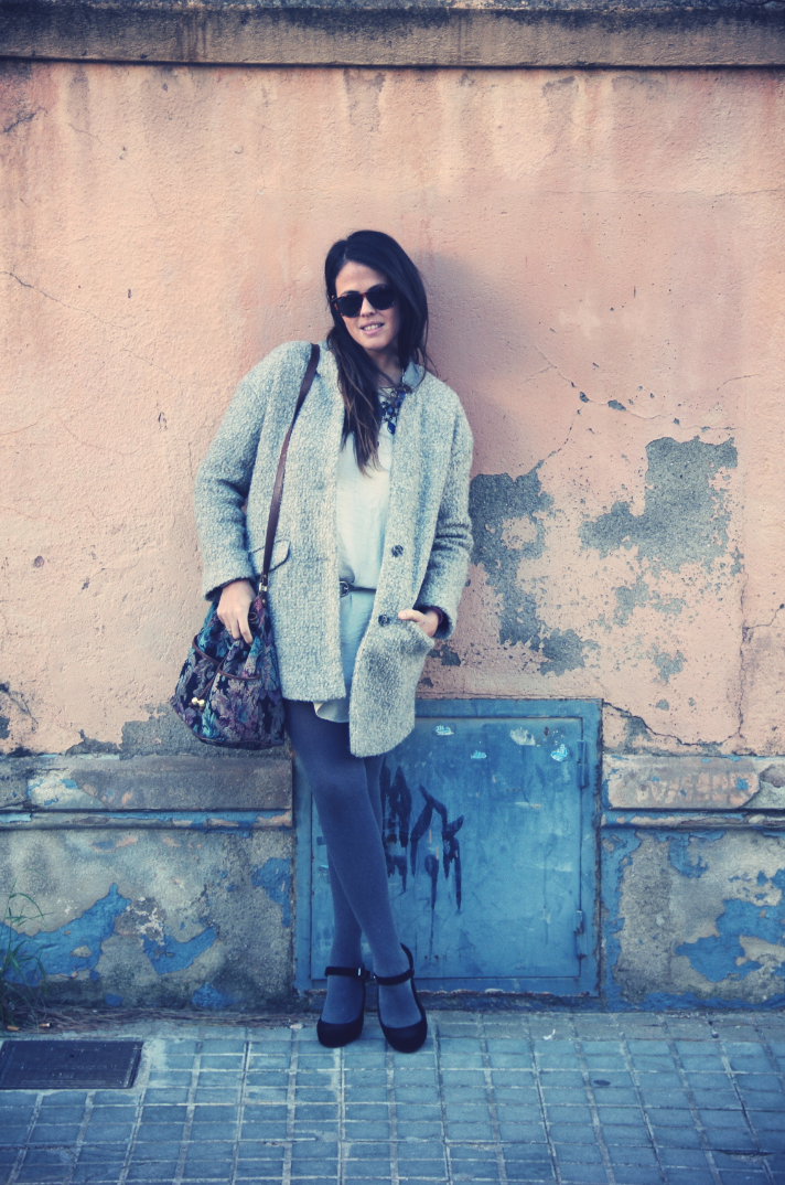 Look White Dress + Grey Coat
