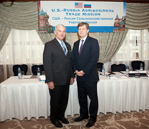 U.S. Ambassador to the Russian Federation Michael McFaul (right) and USDA Under Secretary for Farm and Foreign Agricultural Services (FFAS) Michael Scuse during opening events of the Russia trade mission. Scuse leads a U.S. delegation of more than 20 U.S. companies and five state departments of agriculture on an agricultural trade mission to Moscow and St. Petersburg this week. The goal of the mission is to explore the many possibilities for expanding trade and agricultural partnerships with Russia.