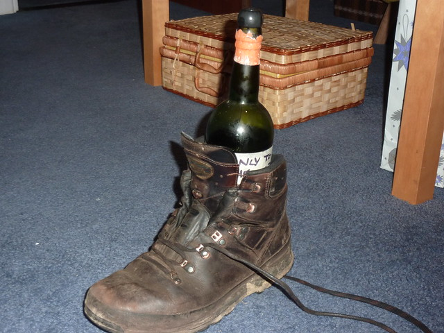 Vintage wine.  In a hiking boot.