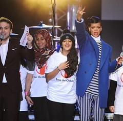 Onstage with Rihanna and Save The Children Gang